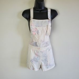 OBEY off white floral short overalls